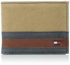 NEW TOMMY HILFIGER MEN'S CANVAS LEATHER CREDIT CARD ID BIFOLD WALLET 31TL22X050