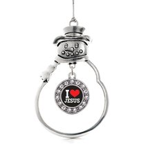 Inspired Silver I Love Jesus Circle Snowman Holiday Decoration Christmas Tree Or - $14.69