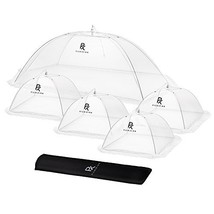5 Pack Mesh Food Tents/Food Covers for Outdoors   1 XL 49x27x17 & 4 Stan... - $30.46