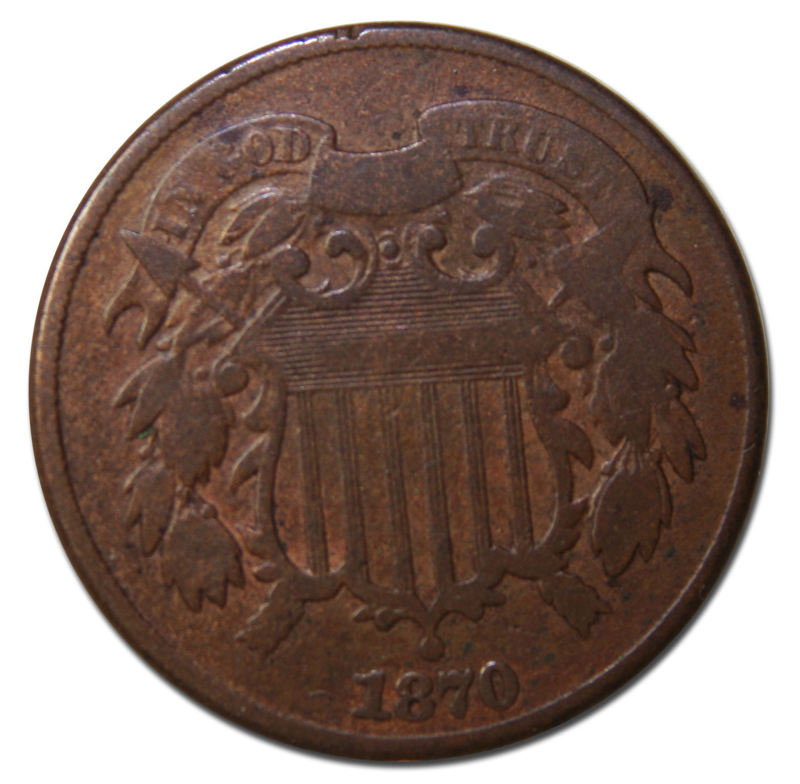1870 Two 2 Cent Coin Piece Lot # MZ 3665