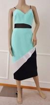 Nwt ABS Allen Schwarts Colorblock Cocktail Midi Woven Dress Sz 6 Seafoam  $330 - $98.95