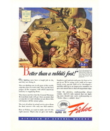 1943 Fisher Steel WWII Army Tank troops print ad - $10.00