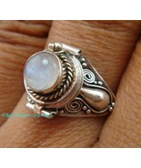 Bali Sterling Silver Round Moonstone Cut Poison/Keepsake Locket Ring LR-... - $18.69