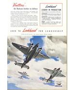 1941 Lockheed Aircraft Vega Ventura WWII print ad - $10.00