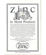 1920 New Jersey Zinc Metal Products print ad - $10.00