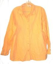 Sz 18W -  Cherokee Woman Orange Sherbert Long Sleeve Linen Blend Shirt - $28.49