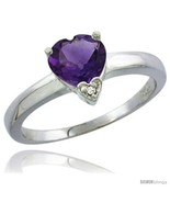 Size 6.5 - 10K White Gold Natural Amethyst Heart-shape 7x7 Stone Diamond  - $255.70