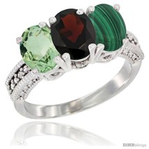 Te gold natural green amethyst garnet malachite ring 3 stone oval 7x5 mm diamond accent thumb200