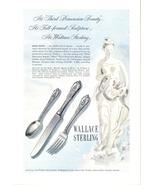 1948 Wallace Sterling Silverware knife fork spoon ad - $10.00