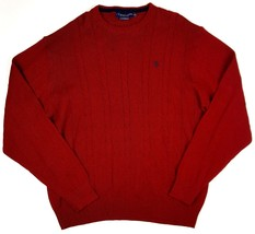 US Polo Assn. Men Size 2XL Red Cable Knit Long Sleeve Sweater Crewneck EUC - $13.99