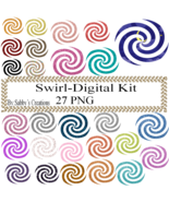 Swirl Digital Kit-Art Clip-Gift Tag-Jewelry-T shirt-Notebook-Scrapbook - $1.99