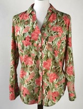 Talbots Womens Button Down Shirt Large Pink Green Floral Long Sleeves B1... - $12.49