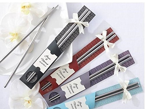 Stainless Steel Chopsticks For Wedding Gift - 10 Pairs (Color and Design May ...