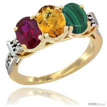 An item in the Jewelry & Watches category: Size 10 - 10K Yellow Gold Natural Ruby, Whisky Quartz & Malachite Ring 3-Stone