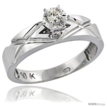 G silver diamond engagement ring w 0.06 carat brilliant cut diamonds 316 in.  5mm  wide thumb200