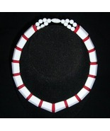 Red and White Lucite Choker Necklace - $5.00