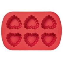 Wilton Ruffled Heart Silicone Red Valentines Day Mold 6 Cavities - ₨663.60 INR