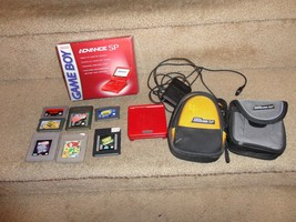 GAME BOY ADVANCED SP NINTENDO BUNDLE RED COLORED CHARGER 7 GAMES 2 CASES - $79.20