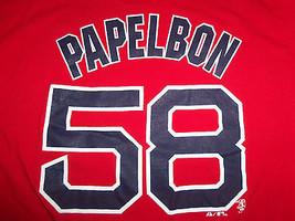 MLB Boston Red Sox Baseball Jonathan Papelbon #58 Red Graphic Print T-Shirt - L - $15.45