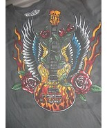 Rock It Guitars Skull Roses Gray T Shirt Adult XL Free US Shipping - $17.13