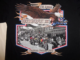 15th Annual Biketoberfest 2007 Daytona Beach Florida USA Black Graphic T... - $18.65