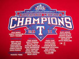 MLB Texas Rangers Baseball 2011 American League Champions Red T-Shirt - L - $17.17