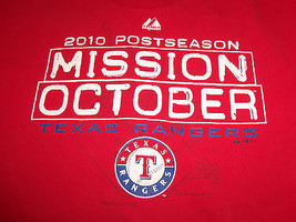 MLB Texas Rangers Baseball 2010 Postseason Mission October Red T Shirt - XL - $17.17