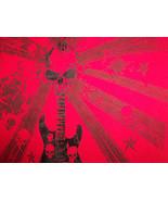 Skull Music Guitar Black Velour Red Graphic Print T Shirt - S - $17.17