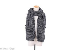 Knit Dip Stitched Pocket Scarf - Black