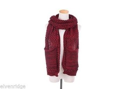 Knit Dip Stitched Pocket Scarf - Burgundy