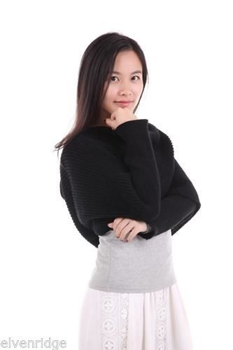 Knit Black Sleeved Scarf