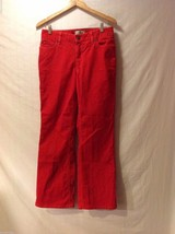 Land's End Womens Bright Red Corduroy Pants, Size 8