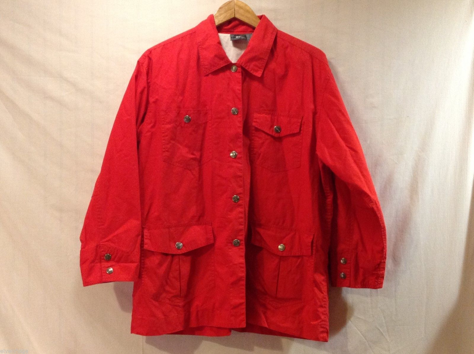 Liz Claiborne Womens Bright Red Windbreaker Jacket, Size Small