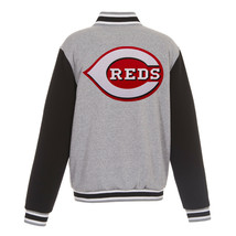 MLB Cincinnati Reds Reversible Full Snap Fleece Jacket JH Design Gray Black - $119.99
