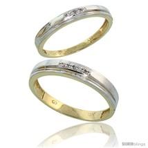 Size 8 - 10k Yellow Gold Diamond 2 Piece Wedding Ring Set His 4mm & Hers... - $423.08