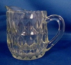 "Pitcher Cream Jeannette Glass Windsor Pattern Clear - Diamonds 4.75"" Tal... - $5.94"