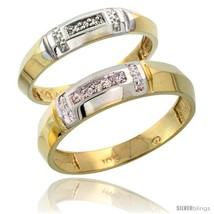 Size 7 - 10k Yellow Gold Diamond 2 Piece Wedding Ring Set His 5.5mm & He... - $451.27