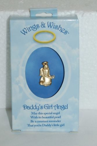 DM Merchandising Wings Wishes Daddy's Girl Gold Colored Angel Pearl Color Bead