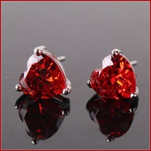 Crystal Red White or Purple Heart Cut Gemstone Sterling Silver Stud Earring Set