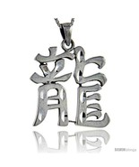 Sterling Silver Chinese Character for DRAGON Pendant, 1 1/2 in  - $91.57