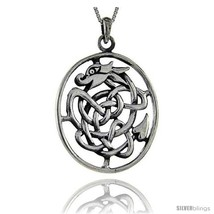 Sterling Silver Celtic Dragon Pendant, 2 in  - $134.45