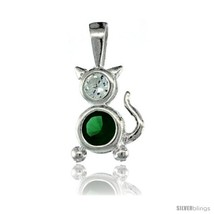 Sterling Silver May Birthstone Cat Pendant w/ Emerald Color Cubic  - $17.65