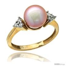 Size 9 - 14k Gold 8.5 mm Pink Pearl Ring w/ 0.105 Carat Brilliant Cut Di... - $467.70