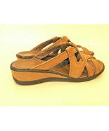 "Ecco® leather sandals, ""Manhattan Slide"",  tan, brown, tan, low wedge he... - $24.95"