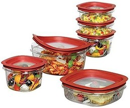 Set of 12 Rubbermaid Food Storage Container with Easy Fine, Red Covers - $46.74