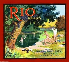 Rio Fruit Citrus Crate Label Art Print Vintage Nude Skinny Dipping Los Angles Ca - $8.29