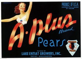 A Plus Pears Fruit Crate Label Art Print Vintage Athletic Sexy Glamour Girl - $9.87