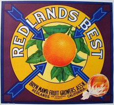 Redland's Best Orange Crate Label Art Print Sunkist Bryn Mawr Redland California - $8.29