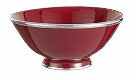 Moroccan Handmade Red Burgundy Ceramic Bowl Silver Metal Trim - $665,55 MXN