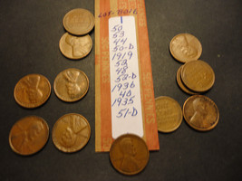 WHEAT CENT LOT B016  >>>>> SEE PICTURE FOR DATES - $1.24